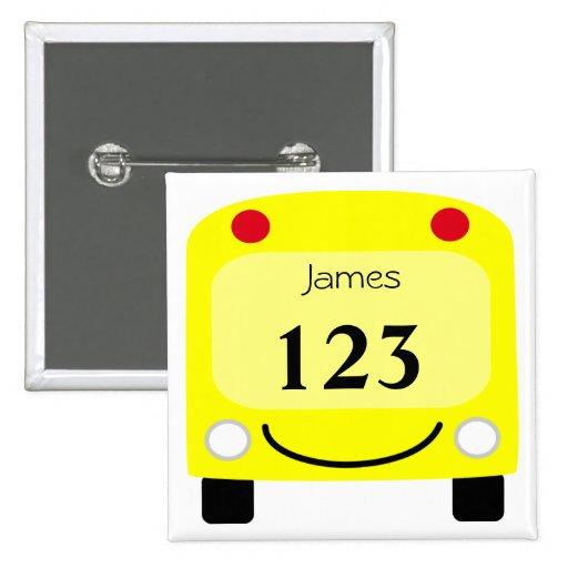 Botón de la etiqueta del autobús escolar