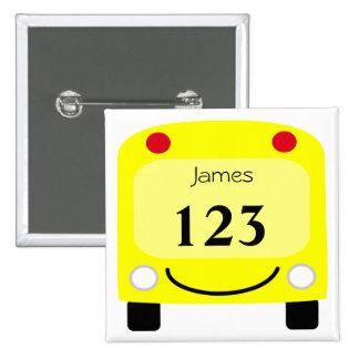 Botón de la etiqueta del autobús escolar pins