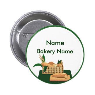 Botón de la etiqueta del nombre de la panadería de pin redondo de 2 pulgadas