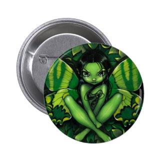 Botón de la fantasía verde de la mariposa pin