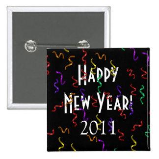 Botón de la Feliz Año Nuevo Pin Cuadrado
