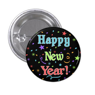 Botón de la Feliz Año Nuevo Pin Redondo De 1 Pulgada