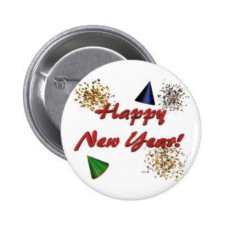 Botón de la Feliz Año Nuevo Pin Redondo De 2 Pulgadas