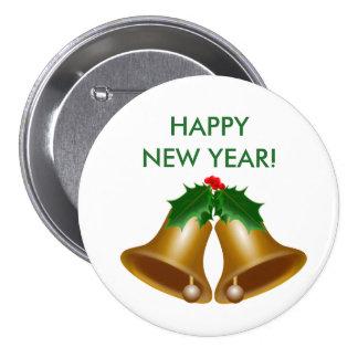 Botón de la Feliz Año Nuevo Pin Redondo De 3 Pulgadas
