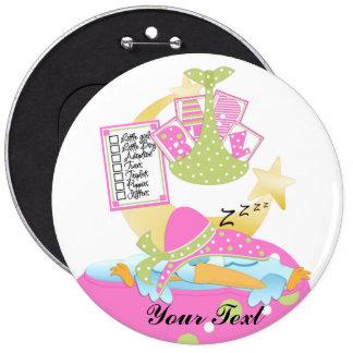 Botón de la fiesta de bienvenida al bebé ZZZ Pin Redondo De 6 Pulgadas