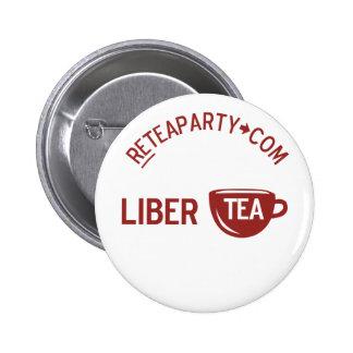 Botón de la fiesta del té de Libertea de la libert Pin Redondo De 2 Pulgadas