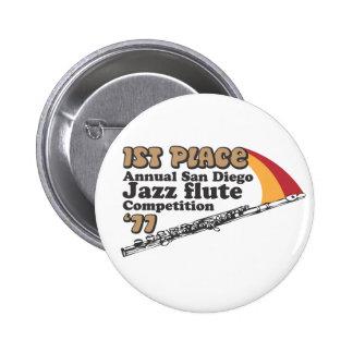 Botón de la flauta del jazz pin redondo de 2 pulgadas