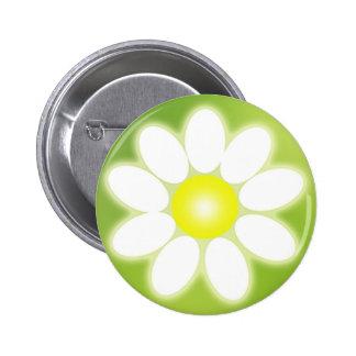 Botón de la flor de la margarita pin redondo de 2 pulgadas