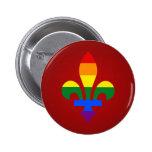Botón de la flor de lis del orgullo de LGBT