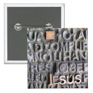 BOTÓN de la foto de Jesús Sagrada Familia de la Pin Cuadrado