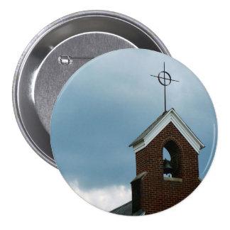 Botón de la foto de la cruz de la aguja de la igle pin redondo de 3 pulgadas