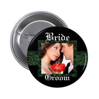 Botón de la foto de novia y del novio pin redondo de 2 pulgadas