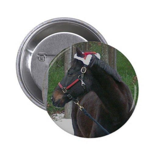 botón de la foto del caballo del navidad pin redondo de 2 pulgadas