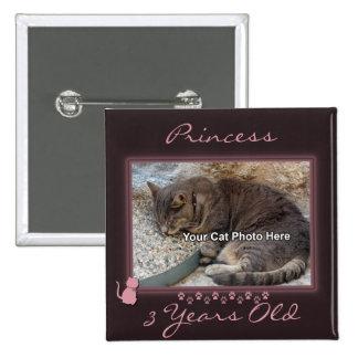 Botón de la foto del marco del gatito pins