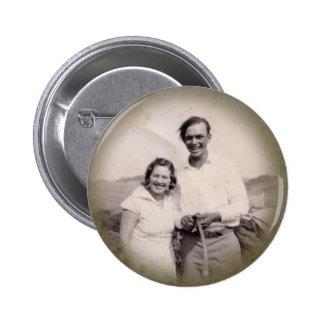 Botón de la fotografía del vintage pins