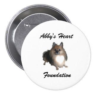 Botón de la fundación del corazón de Abby Pin Redondo De 3 Pulgadas