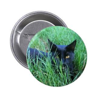 Botón de la Gato-en-Hierba Pin Redondo De 2 Pulgadas