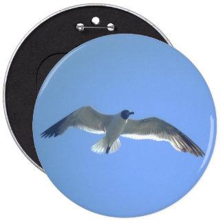Botón de la gaviota en vuelo pin redondo de 6 pulgadas