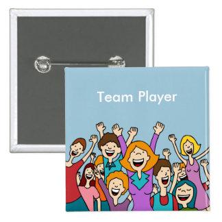 Botón de la gente del trabajo en equipo pin cuadrado