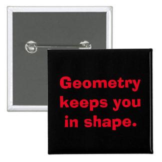 Botón de la geometría de la matemáticas pin cuadrado