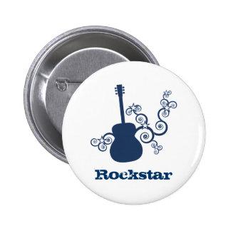 Botón de la guitarra de Rockstar, azul real Pin Redondo De 2 Pulgadas