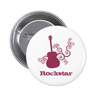 Botón de la guitarra de Rockstar, fucsia Pin Redondo De 2 Pulgadas