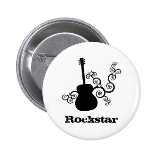 Botón de la guitarra de Rockstar Pin Redondo De 2 Pulgadas