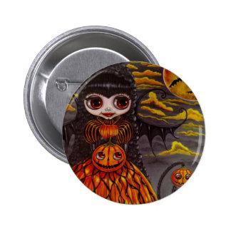 Botón de la hada de Halloween del Victorian Pin Redondo De 2 Pulgadas