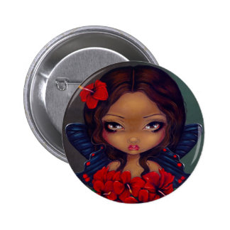 Botón de la hada roja del hibisco pin