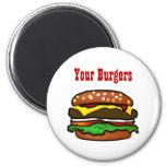 Botón de la hamburguesa imanes de nevera