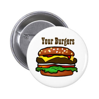 Botón de la hamburguesa pin redondo de 2 pulgadas