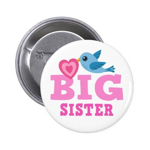 Botón de la hermana grande con el pájaro y el cora pin