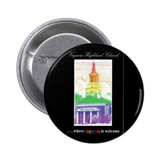 Botón de la iglesia de la Virginia-Montaña Pin Redondo De 2 Pulgadas