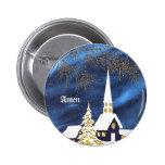 Botón de la iglesia del navidad Nevado Amen Pin