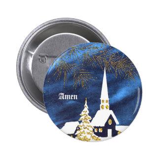 Botón de la iglesia del navidad Nevado Amen Pin Redondo De 2 Pulgadas