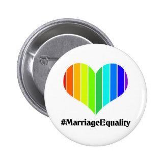 Botón de la igualdad del matrimonio homosexual pin redondo de 2 pulgadas