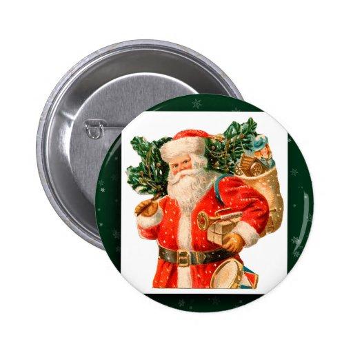 Botón de la imagen de Papá Noel del vintage