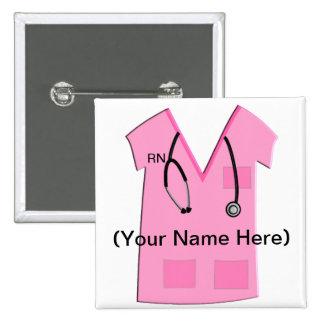 Botón de la insignia conocida de la enfermera regi pin cuadrado