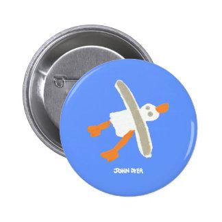 Botón de la insignia del arte: Gaviota el tintóreo Pin Redondo De 2 Pulgadas