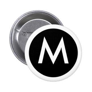 Botón de la insignia del monograma de M Pin Redondo De 2 Pulgadas