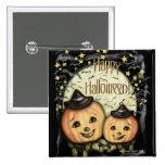 Botón de la Jack-o-linterna de Halloween del vinta Pin