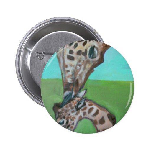 Botón de la jirafa de la madre y del bebé pin