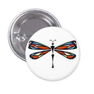 Botón de la libélula del vitral pin redondo de 1 pulgada
