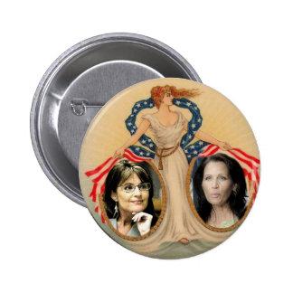 Botón de la libertad de Palin y de Bachmann Pin Redondo De 2 Pulgadas