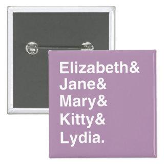 Botón de la lista de nombres de los chicas del pin cuadrado
