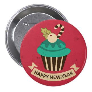 Botón de la magdalena de la Feliz Año Nuevo Pin Redondo De 3 Pulgadas