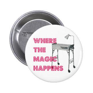 Botón de la magia del manicuro de la tecnología de pin redondo de 2 pulgadas