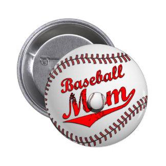 Botón de la mamá del béisbol pin redondo de 2 pulgadas