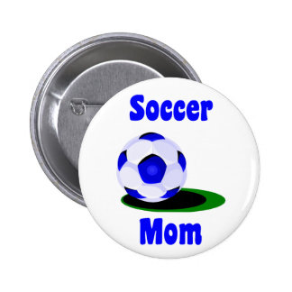 Botón de la mamá del fútbol pin redondo de 2 pulgadas