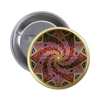 Botón de la mandala del accesorio de oro del pin redondo de 2 pulgadas